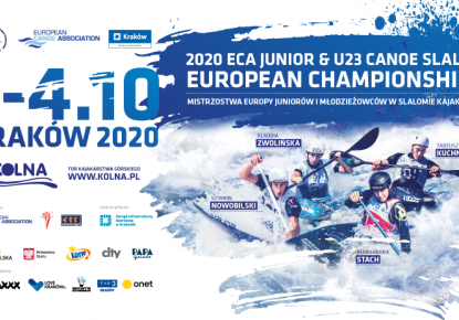 Senior Champions at the startline of the 2020 ECA Junior and U23 Canoe Slalom European Championships