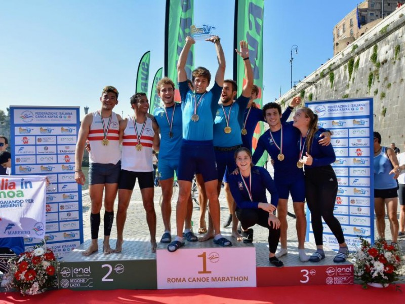 The first canoe marathon event in Rome was a success